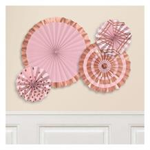 Rose Gold Blush Party Hot Stamped Fan Decorations
