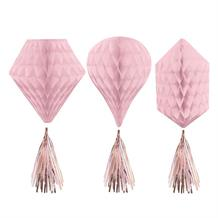 Rose Gold Blush Party Honeycomb Decorations with Tassels