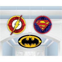 Justice League Party Hanging Puff Ball Decorations