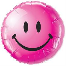 "Hot Pink Smiley Face 18"" Foil 