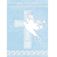 Blue Dove Cross Christening Party Invitations | Invites
