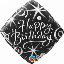 "Diamond Sparkles & Swirls Happy Birthday 18"" Foil 