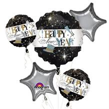 Happy New Year Foil | Helium Balloon Cluster | Bouquet