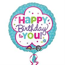 "Pink & Teal Happy Birthday to You 18"" Foil 