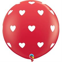 Red Big Hearts 3ft Qualatex Helium Quality Decorator Latex Party Balloons