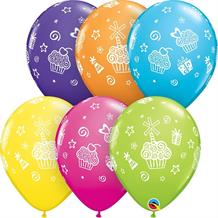 "Colourful Cupcakes and Presents 11"" Qualatex Latex Party Balloons"