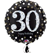 Gold Sparkle 30th Birthday Foil Helium Balloon