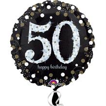 Gold Sparkle 50th Birthday Foil Helium Balloon