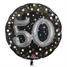 Gold Sparkle 50th 3D Supershape Foil | Helium Balloon