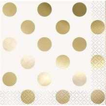 Gold Foil Polka Dots Party Beverage Napkins | Serviettes