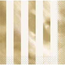 Gold Foil Striped Party Napkins | Serviettes
