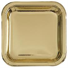 Gold Foil Party Square Cake Plates