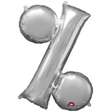 "Anagram 34"" Silver Percentage Symbol Foil Balloon"