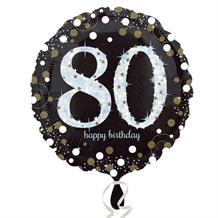"Gold Sparkle 80th Birthday 18"" Foil 