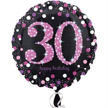 Pink Sparkle 30th Birthday Foil Helium Balloon