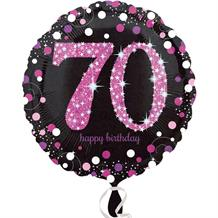 "Pink Sparkle 70th Birthday 18"" Foil 