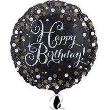 "Gold Sparkle Happy Birthday 18"" Foil 