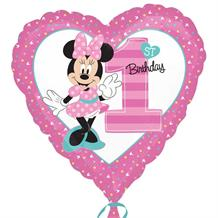 "Minnie Mouse Heart 1st Birthday 18"" Foil 