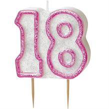 Pink Glitz 18th Birthday Cake Number Candle  | Decoration