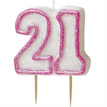 Pink Glitz 21st Birthday Cake Number Candle  | Decoration