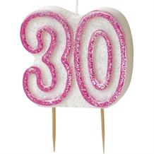 Pink Glitz 30th Birthday Cake Number Candle  | Decoration