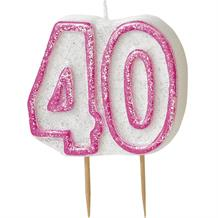 Pink Glitz 40th Birthday Cake Number Candle  | Decoration