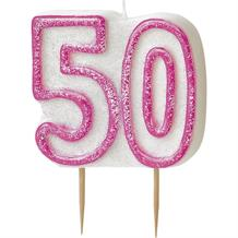 Pink Glitz 50th Birthday Cake Number Candle  | Decoration