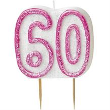 Pink Glitz 60th Birthday Cake Number Candle  | Decoration