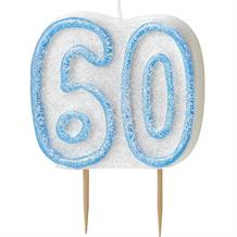 Blue Glitz 60th Birthday Cake Number Candle  | Decoration