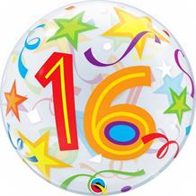 "Colourful Stars 16th Birthday 22"" Qualatex Bubble Party Balloon"
