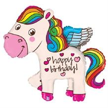 "Rainbow Unicorn Happy Birthday 35"" Foil 