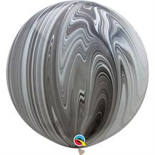 "Black and White Colours SuperAgate Marble 30"" Qualatex Decorator Latex Party Balloons"