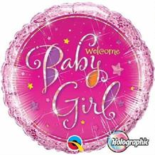"Holographic Welcome Baby Girl Pink Baby Shower 18"" Foil 