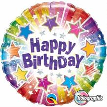 "Holographic Radiant Stars Happy Birthday 18"" Foil 