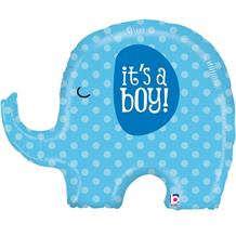 "Shaped Elephant It's a Boy 32"" Foil 
