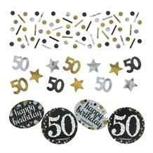 Gold Sparkle 50th Birthday Party Table Confetti | Decoration