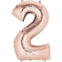 "Anagram Rose Gold 35"" Number 2 Supershape Foil 