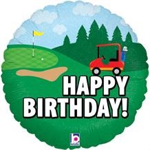"Golf Buggy Happy Birthday 18"" Foil 