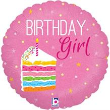 "Birthday Girl Cake Pink 18"" Foil 