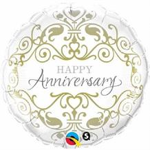 "Gold and White Classic Wedding Anniversary 18"" Foil 