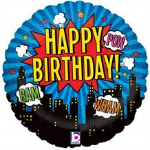 "Superhero Happy Birthday Metallic 18"" Foil 