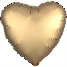 "Anagram Gold Satin Luxe Unpackaged Plain Coloured Heart 18"" Foil 