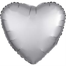 "Anagram Platinum | Grey Satin Luxe Unpackaged Plain Coloured Heart 18"" Foil 