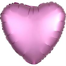 "Anagram Hot Pink | Flamingo Satin Luxe Unpackaged Plain Coloured Heart 18"" Foil 
