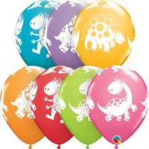 "Colourful Dinosaurs 11"" Qualatex Latex Party Balloons"