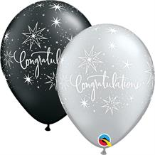"Silver and Black Congratulations Elegant 11"" Qualatex Latex Party Balloons"