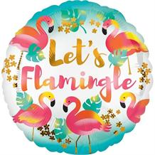"Let's Flamingle | Flamingo 18"" Foil 