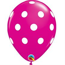 "Hot Pink Big Polka Dots 11"" Qualatex Latex Party Balloons"