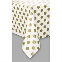 Gold Polka Dot Party Tablecover | Tablecloth