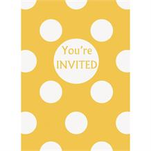 Sunflower Yellow Polka Dot Party Invitations | Invites